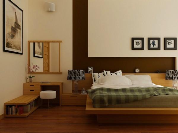vue chambre coucher bois