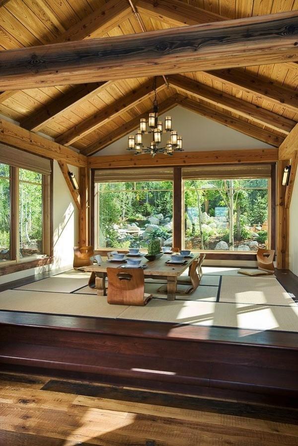 vue table manger jardin bois