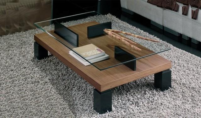 jeu matière combinaison table bois verre table basse