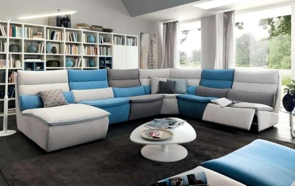 canapé d'angle bleu salon