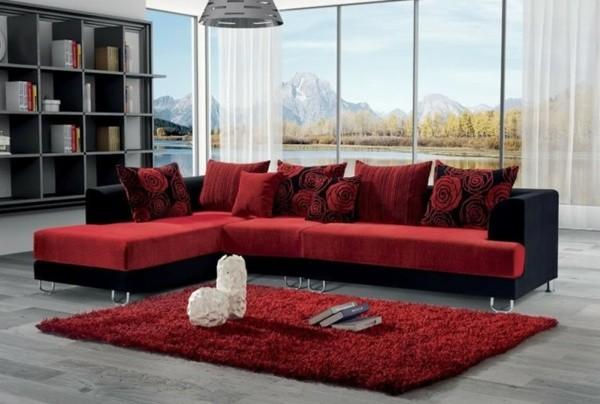 canapé salon rouge noir