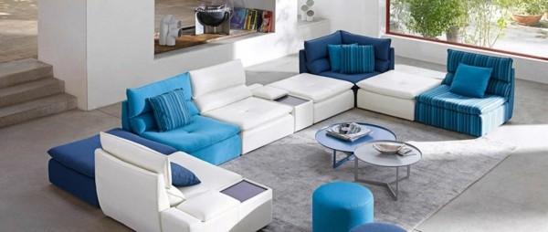 canapé salon tonalites bleues