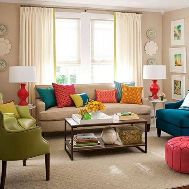 déco multicolore salon joyeux couleurs vives