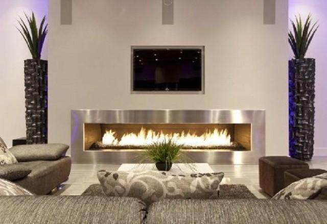 décoration coin cheminée moderne