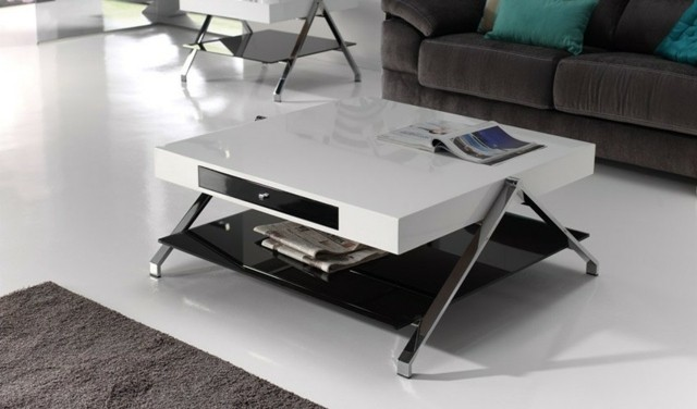 design table basse hi tech salon classique noir blanc