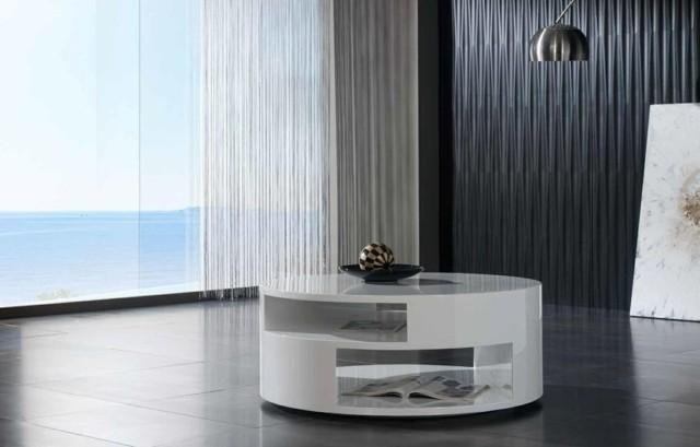 ellipse plusieurs niveaux blanche table design