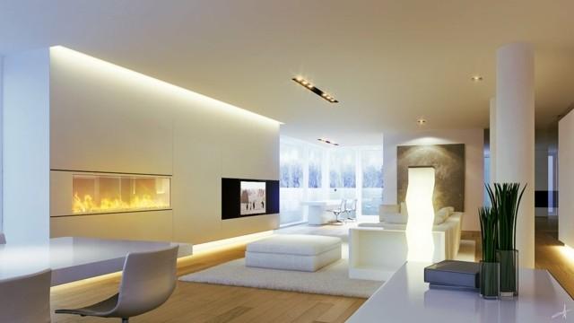 interieur ultra moderne cheminee