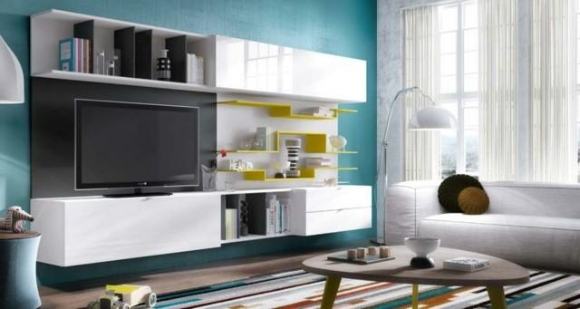 meuble télé blanc jaune