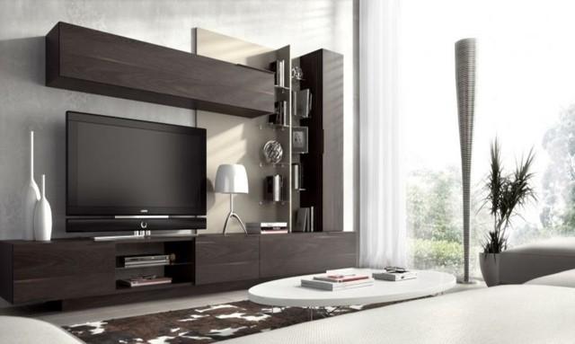 meuble télé design bois foncé
