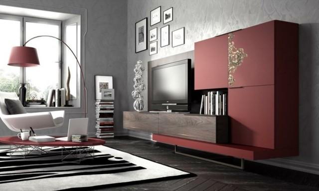 meuble télé design rouge