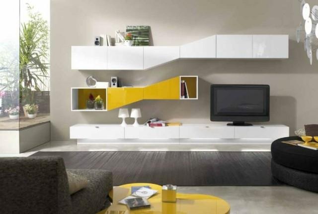 meuble tv blanc jaune