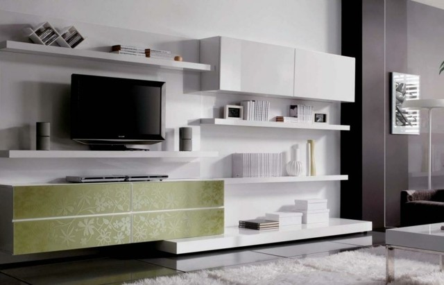 meuble tv blanc vert
