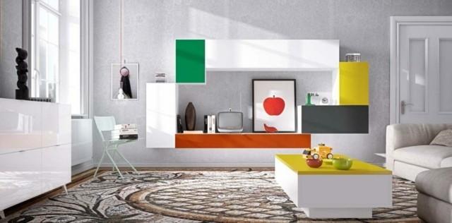 meuble tv laque multicolore