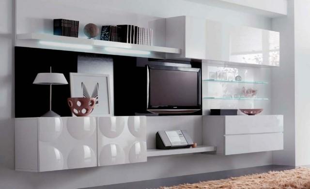 meuble tv noir blanc