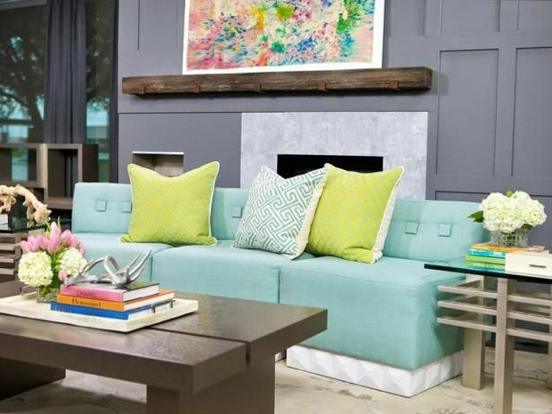 mobilier contemporain salon accent couleurs vives