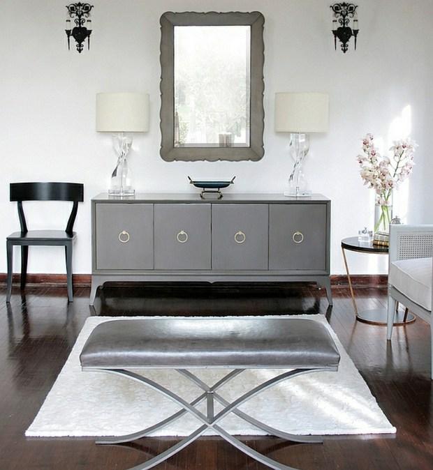 noir blanc argent gris miroir tabouret
