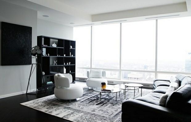 noir blanc baie vitree interieur design sejour