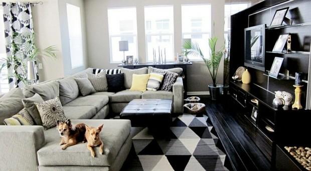 noir blanc etagere tele chien tabouret canape