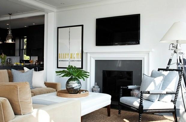 noir blanc interieur sejour design cheminee