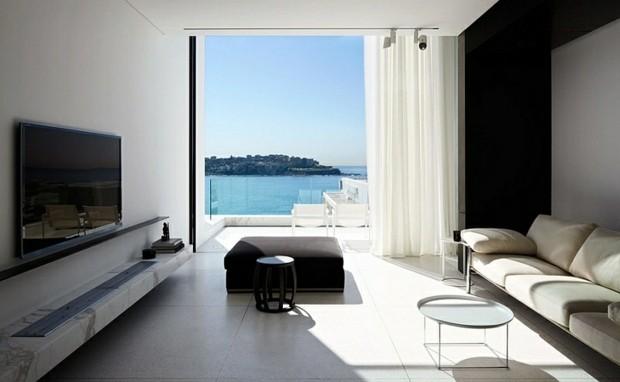 noir blanc niche mer marbre baie vitree