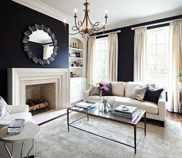 noir blanc retro sejour miroir lustre table