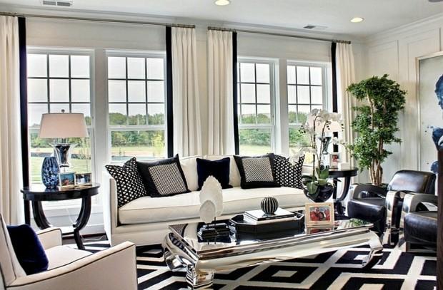 noir blanc sejour retro tapis lozange