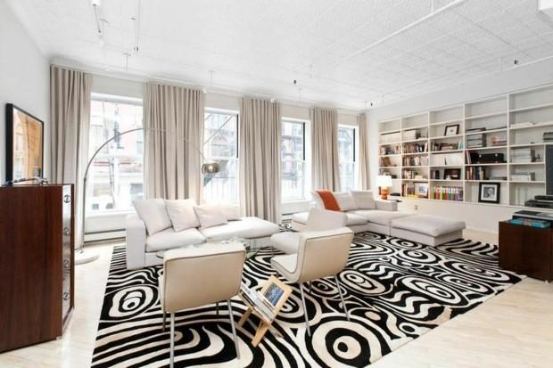 noir blanc sejour tapis motif zebre lumineux