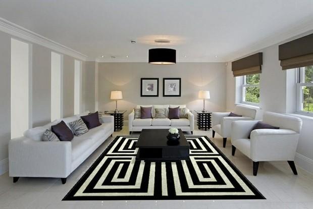 noir blanc tapis motif grec meandre sejour