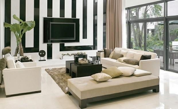 noir et blanc canape plat baie vitree