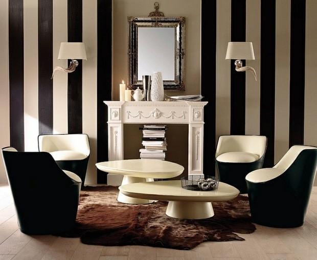 noir et blanc lounge corne bouc raye mur