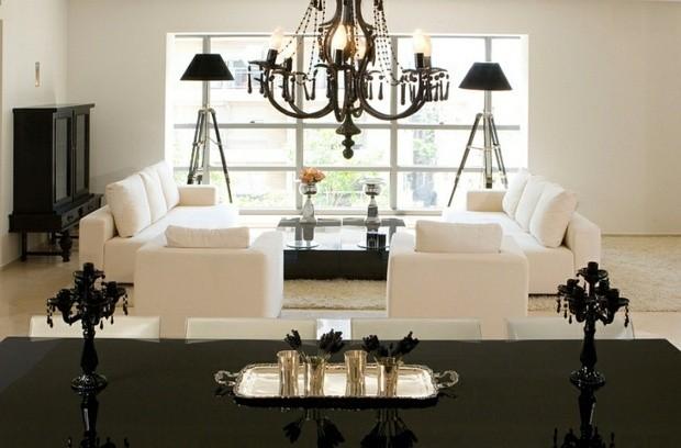 noir et blanc lustre symetrie kitsch canape