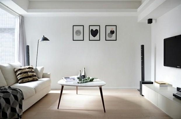 noir et blanc minimal pied table canape