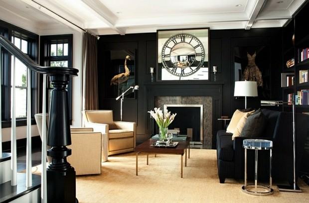 noir et blanc retro horloge cheminee miroir