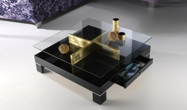 noir or salon design basse élément verre argent