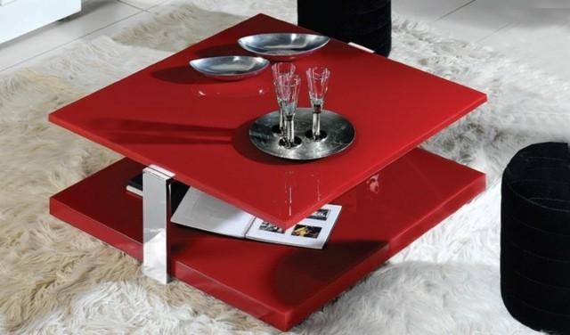 rouge basse accent table vif salon