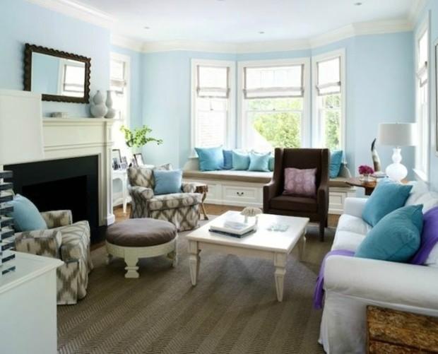 salon aménagé mur peints nuance bleu ciel