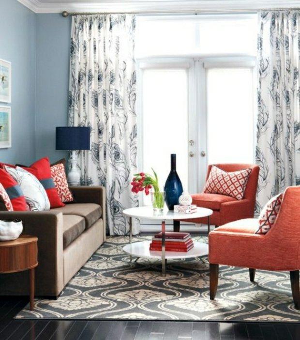 salon chic élégant rideaux tapis motifs