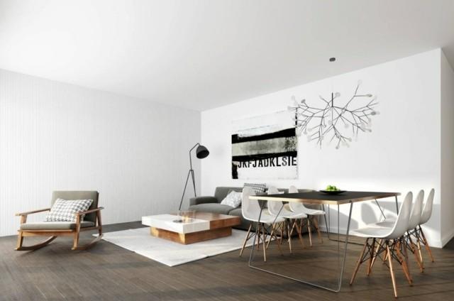 salon deco table bois