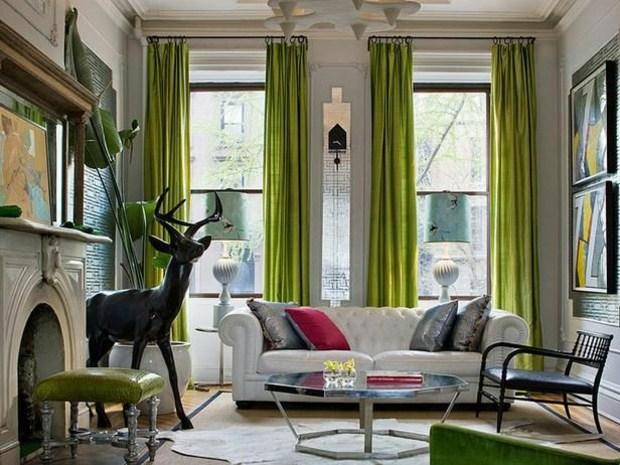 salon moderne clin d'oeil rétro et accents verts