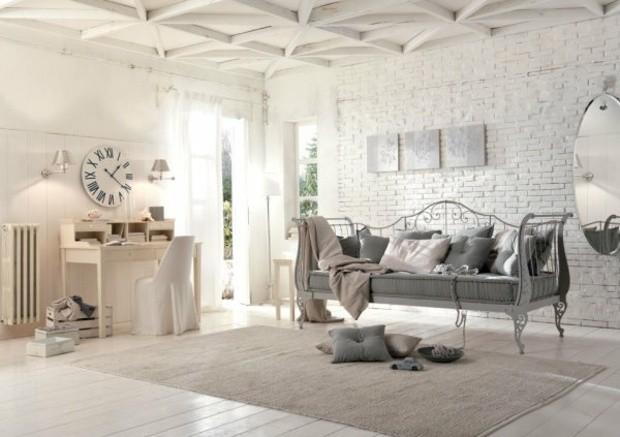 Salon Raffiné Shabby Chic Mur Briques Blanches