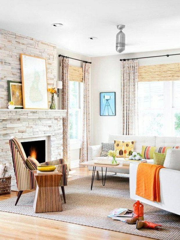 salon style rustique cheminée en pierre table bois