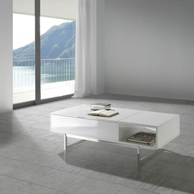 table basse blanche style clair simple pure peu détails