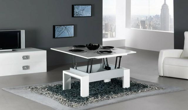table basse blanc petite montant mécanisme