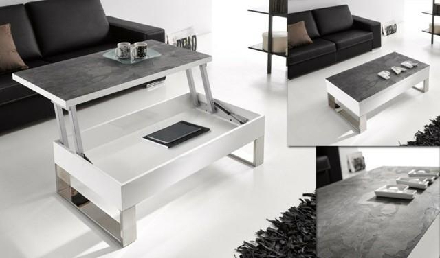 table basse magnifique effet pierre montante mécanisme