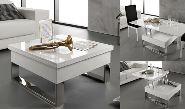 design blanc argent salon complément rangement pratique table maison