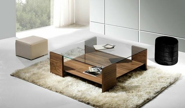 table basse bois verre carrée espace équipe