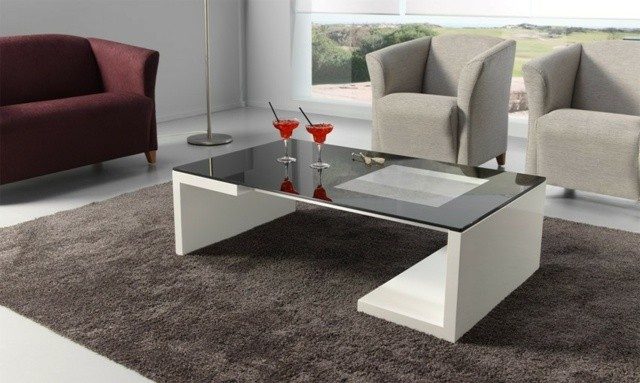 table basse design formes surface angles droits blanc verre