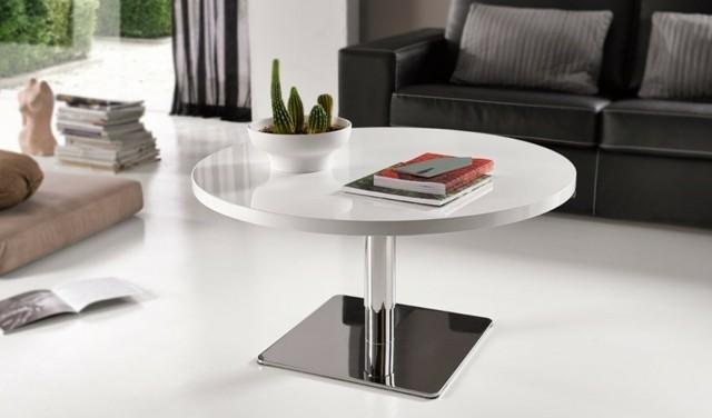 table cercle basse ronde hauteur blanc