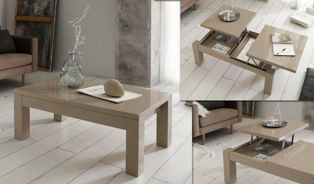 table salon basse bois mécanisme ouverture