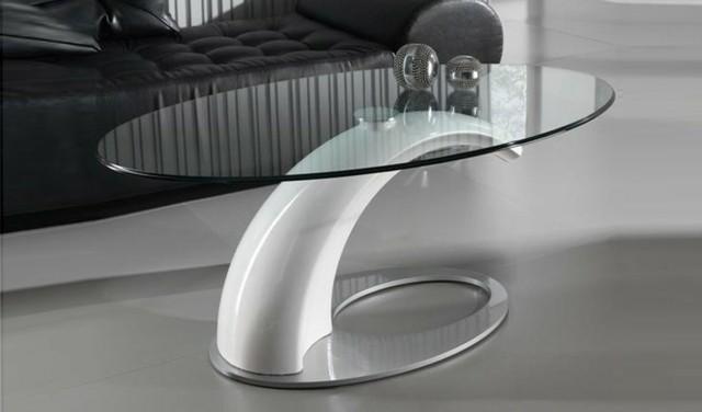 table design basse futuriste matière metal ellipse